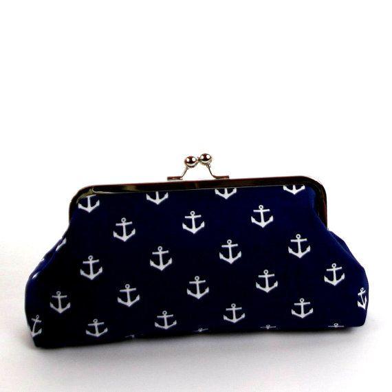 Navy White Nautical Anchor Clutch/Navy Blue White Wedding Accessory/Nautical Purse on Etsy, $35.00
