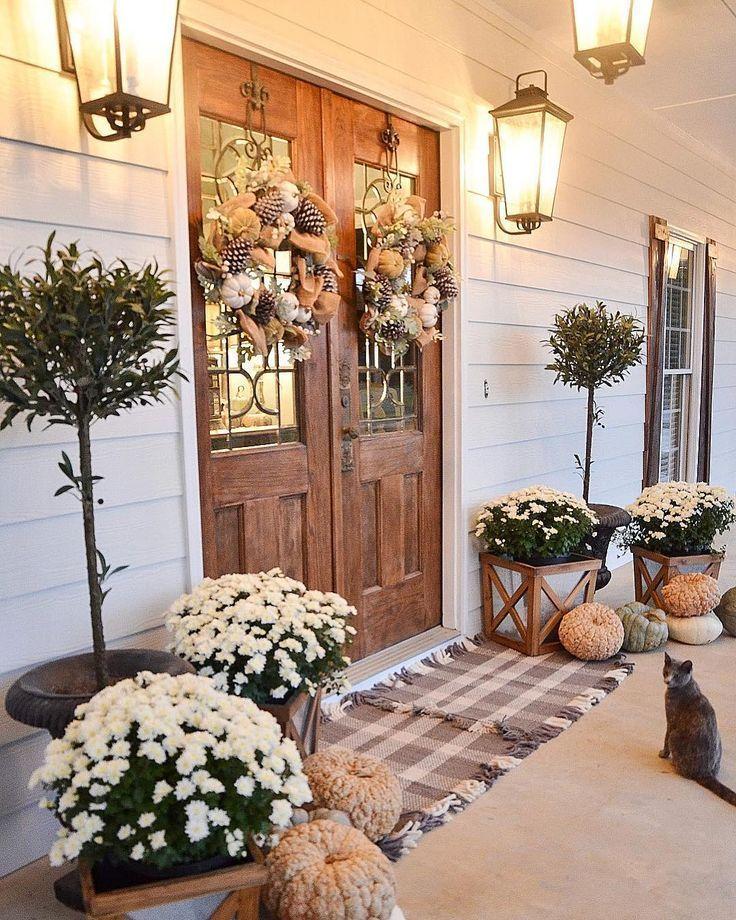 Farmhouse Fall Front Porch Ideas My Cozy Colorado In 2020 Fall Front Porch Decor Front Porch Decorating Fall Decorations Porch