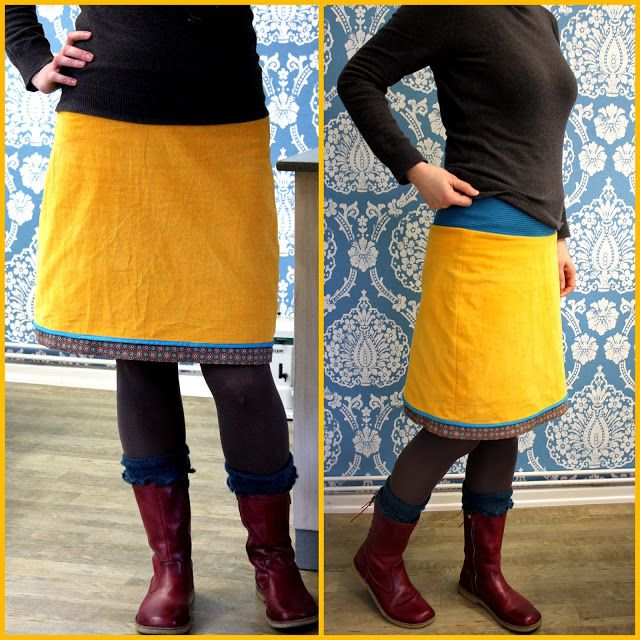 Corduroy skirt with jersey band - by tillaBox
