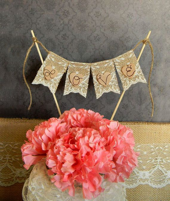 Love Cake Topper Burlap & Lace Bunting Flags by justforkeeps,