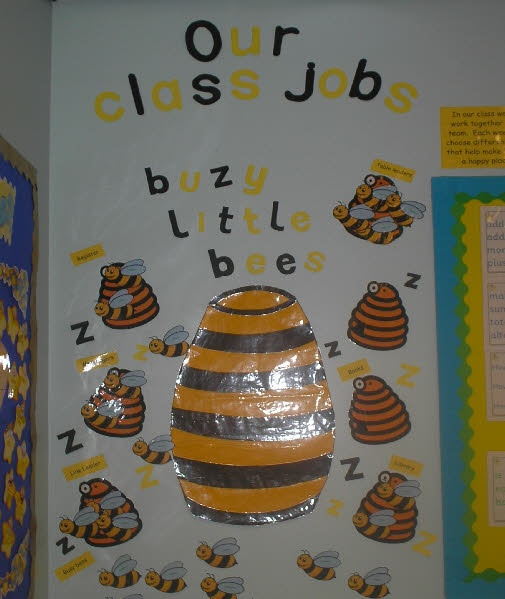 Busy Bees class jobs board, can download these resources free from Sparklebox site