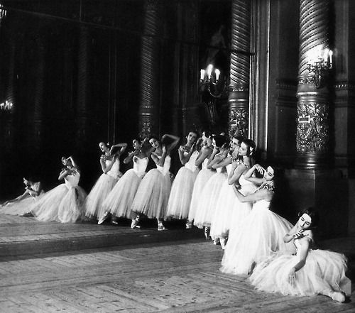 Dancers of the Paris Opéra photographed in the Foyer de la Danse of the Palais Garnier, c. 1954