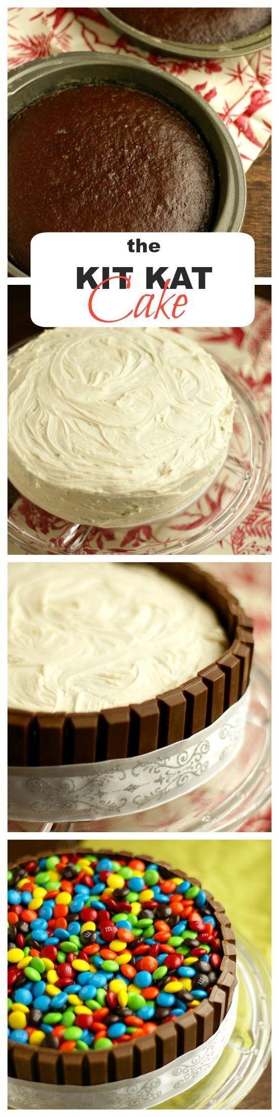 Utiliza Kit Kats y M&M para decorar un pastel simple y haz que una cantidad monstruosa de azúcar se vea elegante. | 13 Pasteles de cumpleaños para niños absolutamente geniales