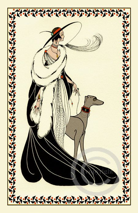Whimsical Art Deco Glamour Lady high Society in Gown walking her Grey hound dog Silhouette Flapper Vamp Giclee Fine Art Print 11×14 no.2