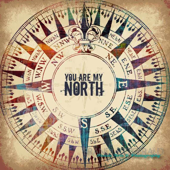North You Are My 10 X 10 Compass Quote Fusion By Brandifitzgerald