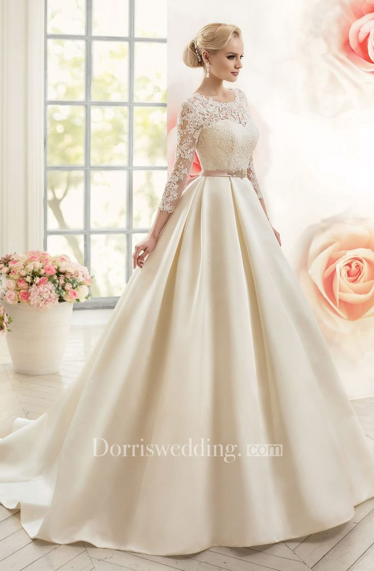 A-Line Long Scoop Long Sleeved Satin Dress with Deep V Neckline, Appliques and Waist Jewelry