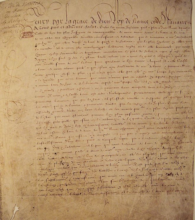 The Edict of Nantes, issued on 13 April 1598, by Henry IV of France, granted the Calvinist Protestants of France (also known as Huguenots) substantial rights in a nation still considered essentially Catholic. Henry aimed primarily to promote civil unity. It marked the end of the religious wars that had afflicted France during the second half of the 16th century.