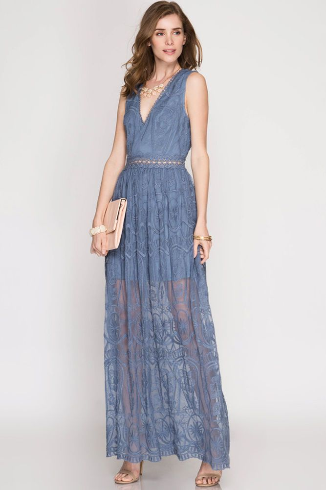ab50f723 Boho Chic Floral Lace maxi dress with mesh and crochet, partial lined.  Exquisite tasteful designed. She and Sky, She Sky, She & Sky. Color: Dusty  Blue.