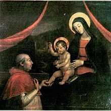 Alexander VI kneeling in front of the Madonna, said to be a likeness of Giulia Farnese. A copy of a lost or destroyed fresco by Pinturicchio.