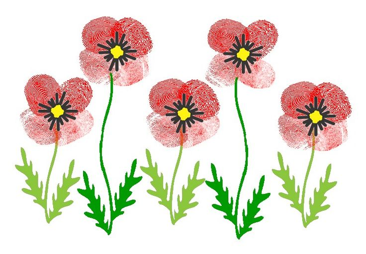 Thumbprint Poppies for Veteran's Day Printable and instructions on FreeKidsCrafts.com