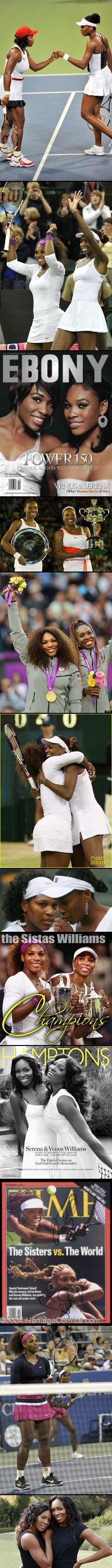 Venus Williams, a 7-time Grand Slam title winner (singles), & Serena Williams, 16-time Grand Slam title winner (singles), they have met in 8 Grand Slam singles finals. They have won 22 doubles championships together! Both sisters have had the honor of being ranked by the Women's Tennis Assoc at the World No. 1 position. In 2002 Venus Williams & Serena were ranked No. 1 & No. 2 respectively. #serena, #venus, #doubles, #tennis, #champion