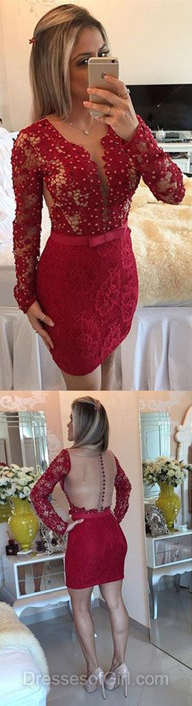 Burgundy Homecoming Dresses, Long Sleeve Prom Dress, V-neck Formal Dress, Lace Evening Gowns, Short Cocktail Dress