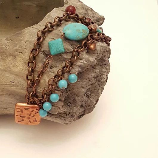 Copper chain  and Turquoise beads & Turquoise -Copper-Jade  Charms bracelet by Chiki Design