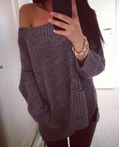 Oversized off shoulder sweater.