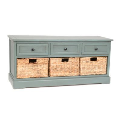 Blue 6-Drawer Storage Bench with Baskets | Kirklands