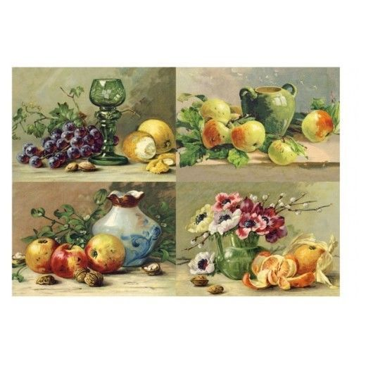 carta di riso per decoupage 34,5x49,5 quadri nature morte