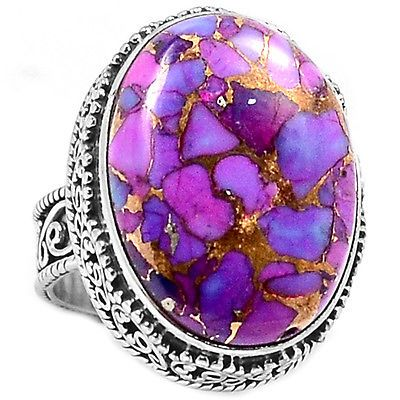 PCTR1060-COPPER-PURPLE-ARIZONA-TURQUOISE-925-STERLING-SILVER-RING-JEWELRY-s-6-5