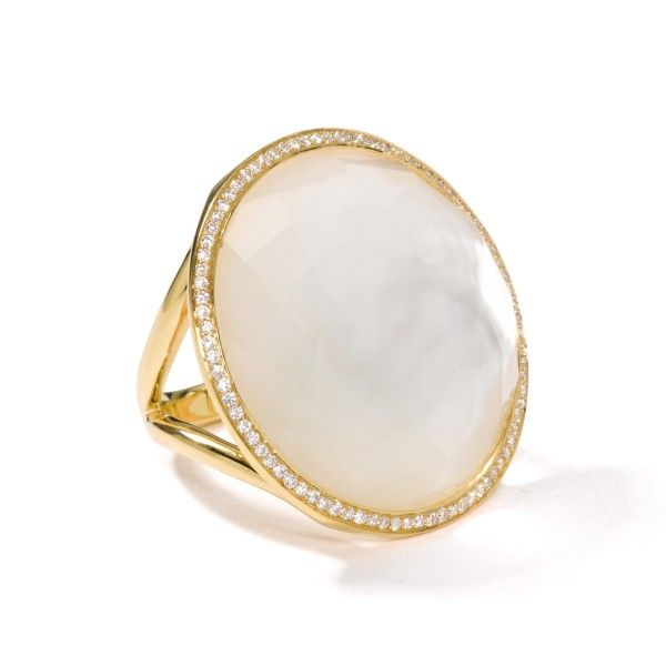 18K GOLD LARGE LOLLIPOP RING IN MOTHER-OF-PEARL DOUBLET ...