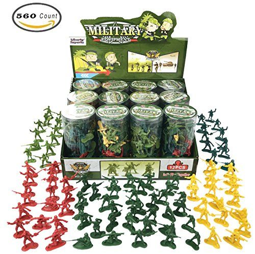 Discounted  12 Tubes of Action Figures Army Men Soldiers in Mini Buckets Bulk Party Favors Supplies