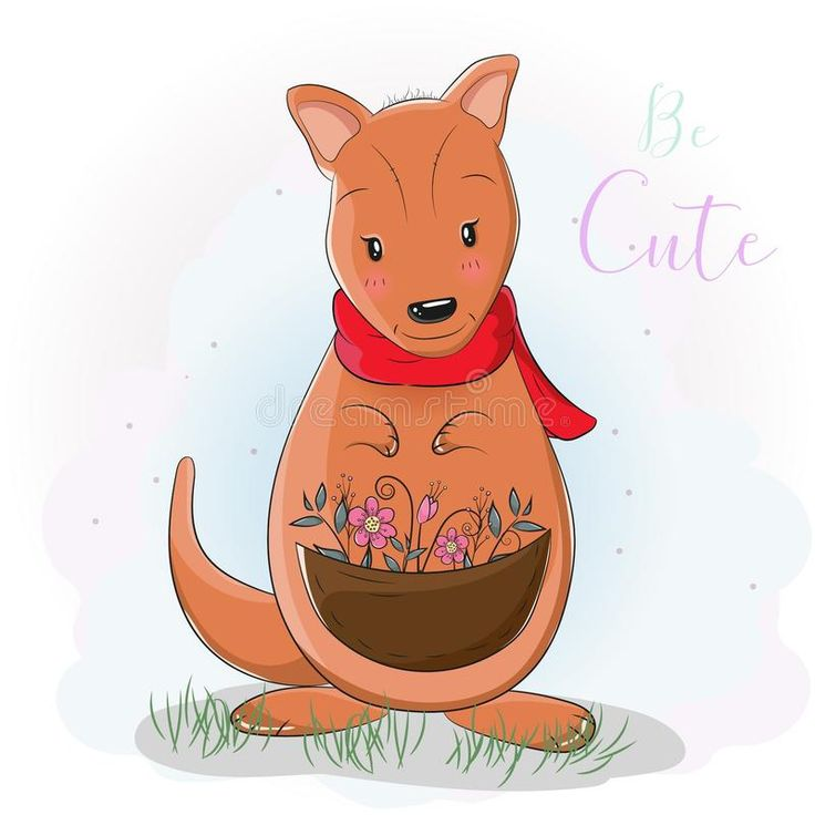 Cute cartoon kangaroo with flower. Illustration about ...