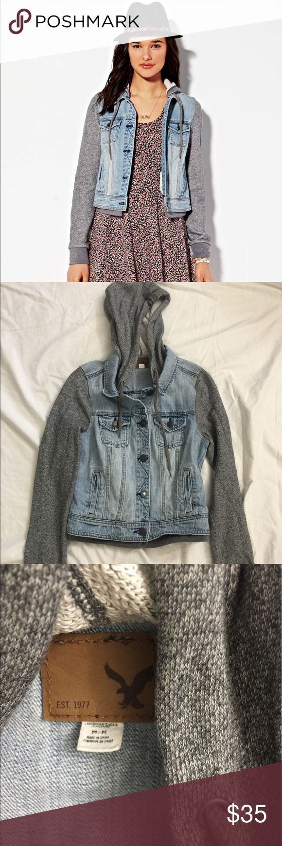 American Eagle Jean Jacket Hoodie Jean jacket with soft hoodie and sleeves in excellent condition; worn only once American Eagle Outfitters Jackets & Coats Jean Jackets