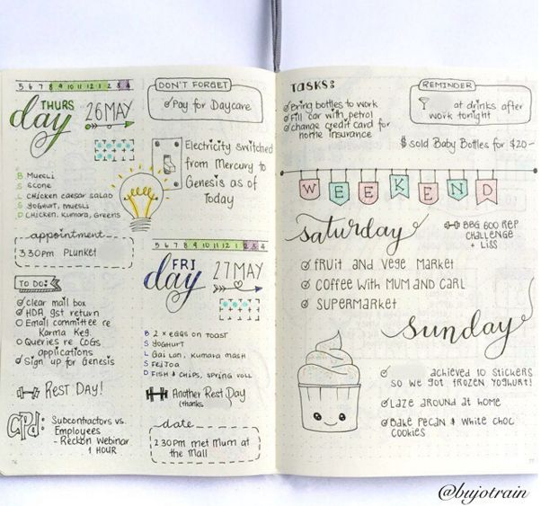 Weekly Overview   25 Satisfying Bullet Journal Layouts That'll Soothe Your Soul