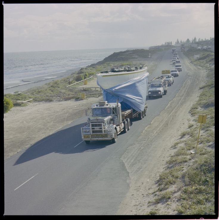329210PD:  Australia II leaves Steve Ward's boatshed in Cottesloe for her pen at…