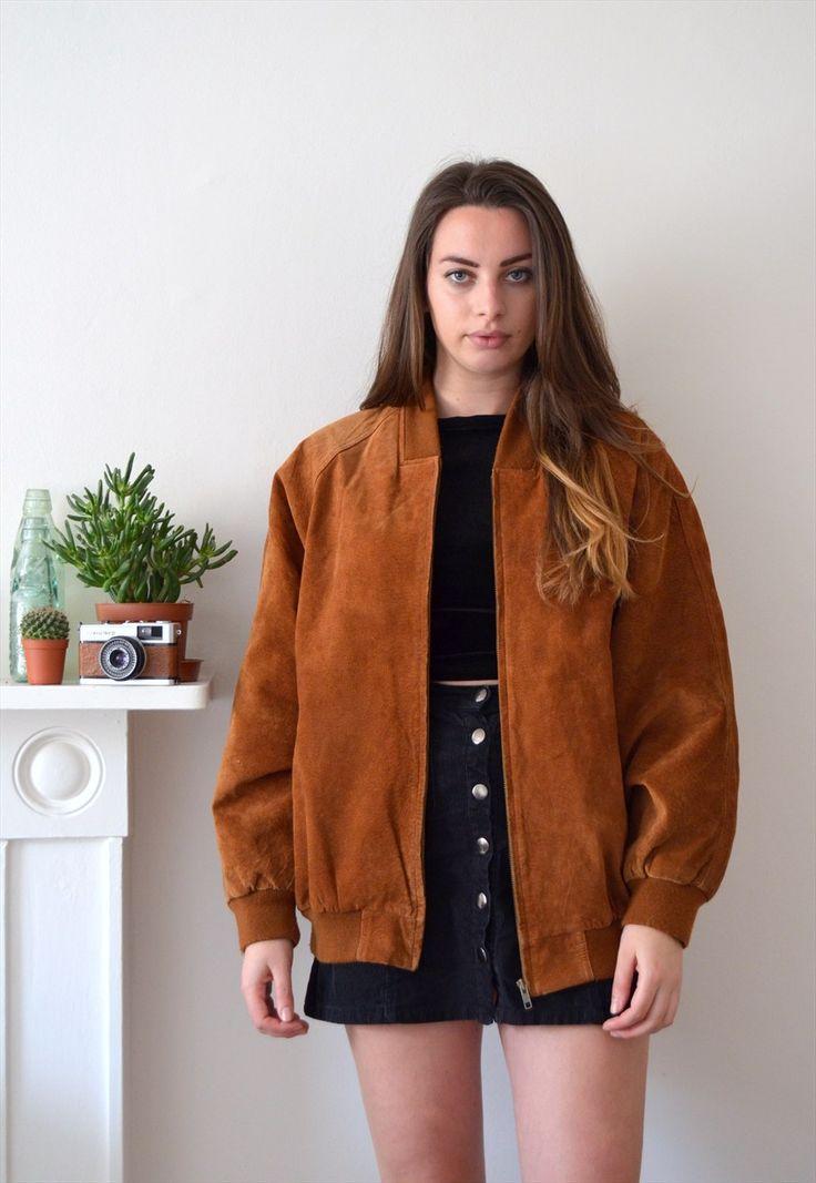 90s Vintage Rust Brown Oversized Suede Bomber Jacket | Ica Vintage | ASOS Marketplace