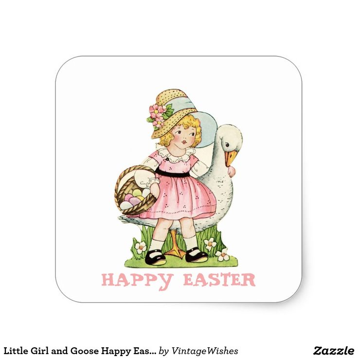 Little Girl and Goose Happy Easter Square Sticker