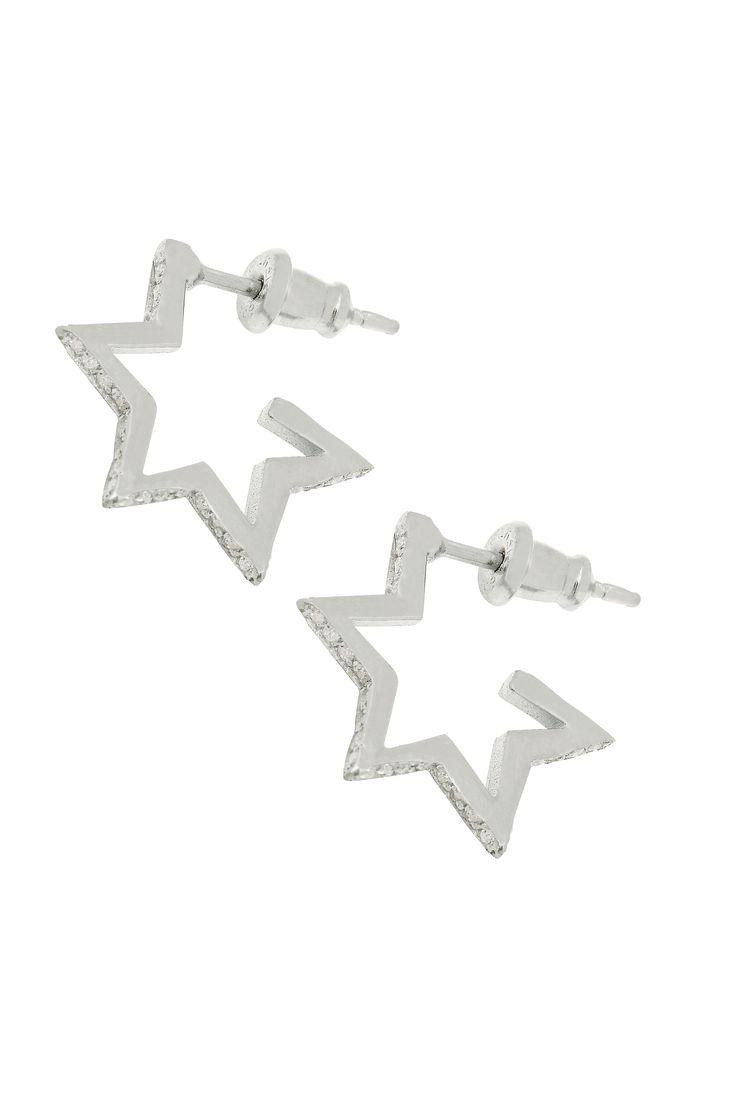 Crystal Star Hoops Silver