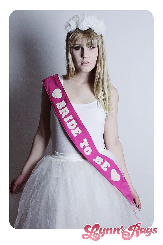 Diy Fucsia Pink Sash BRIDE TO BE Hearts Handmade Wedding Bridal Shower Bachelorette Party