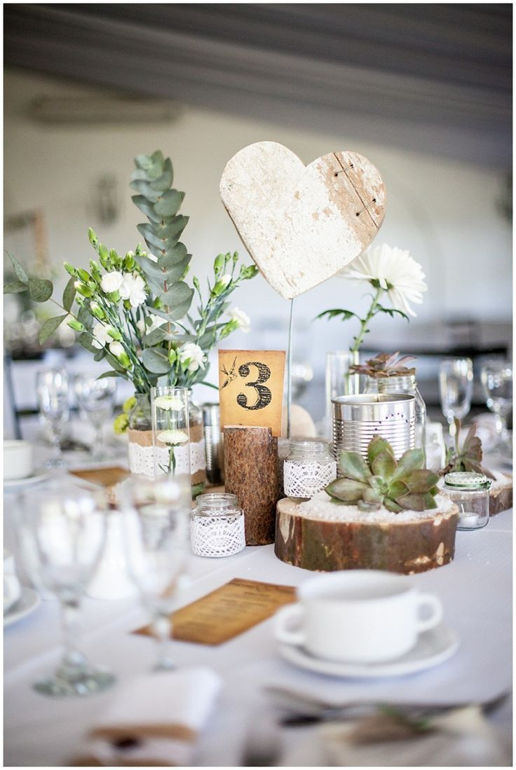 Vintage #Table decoration for the wedding with many # DIY elements