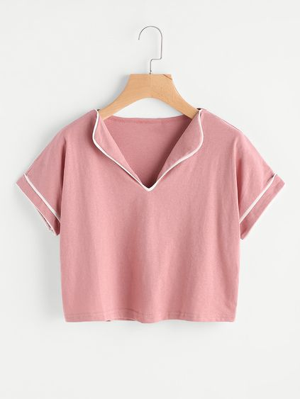 Fold Over Neck Contrast Trim Tee