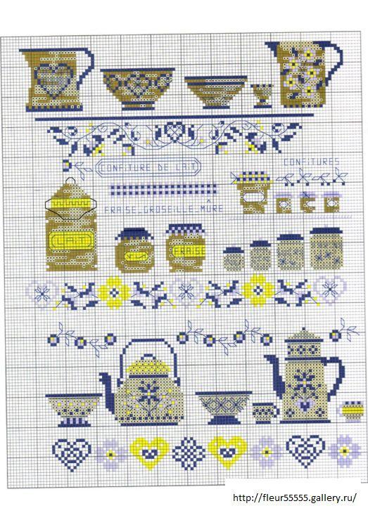 tea pots and tea cups cross stitch charts Gallery.ru / Фото #1 - 91 - Fleur55555