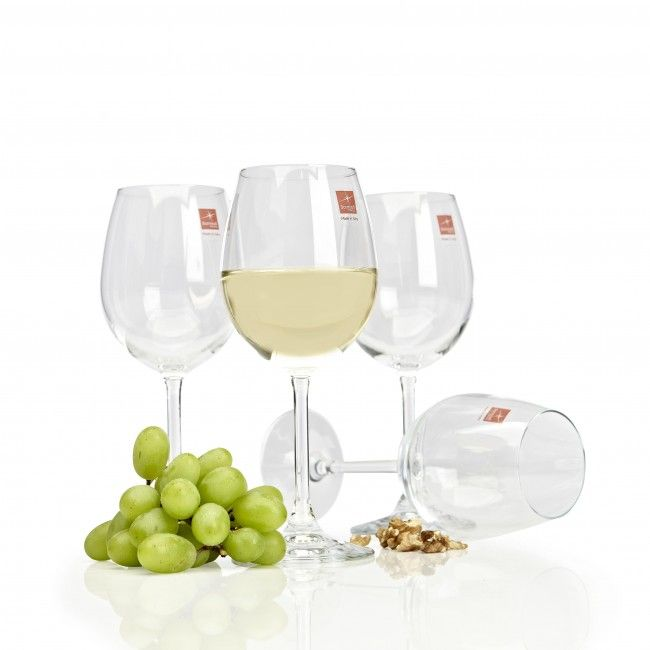 A timeless wine glass set containing four stemmed wine glasses, each capable of holding 12.5oz.