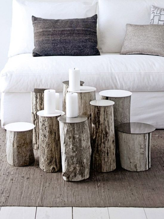 Love the pillows, logs as coffee table/display. Real Living Magazine. Photo: Brigitta Wolfgang Drejer/Sisters AgencyCoffe Tables, Ideas, Coffee Tables, Side Tables, Logs, Wooden Decor, Living Room, Wood Tables, Trees Stumps