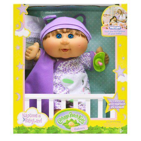 Cabbage Patch Kids Naptime Babies Doll, Brunette/Blue Eye Girl, Multicolor