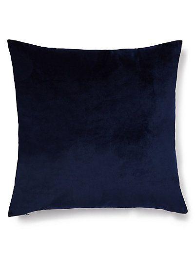 Navy Velvet Cushion | M&S