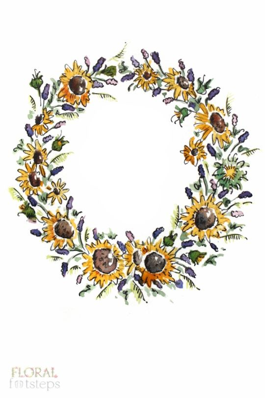 Sunflower and Lavender Illustrated Wreath Design