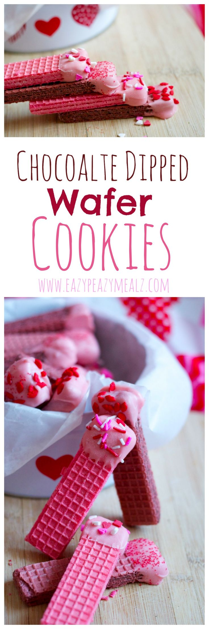 Chocolate Dipped Wafer Cookies: These little wafer cookies are both delicious and easy to make. Perfect for a Valentine's Day activity with kids. -Eazy Peazy Mealz