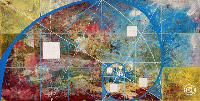 Trazando lineas con acrílicos. La sucesión de Fibonacci y el número áureo . Carolum Art Studio Blog.