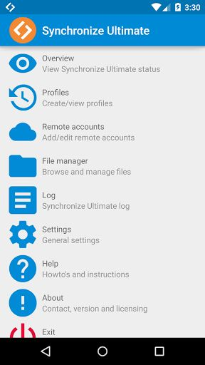 Synchronize Ultimate v4.2.56 [Pro]   Synchronize Ultimate v4.2.56 [Pro]Requirements:4.0.3Overview:Now you can synchronize from to and between over 100 different clouds! And thats not all the app also includes the most complete file manager with multi cloud support you have ever seen.  Synchronize between different clouds / protocols and use the best File Manager / File Explorer!  How to setup synchronizing: 1. Add the required remote accounts inside the app 2. Add a Sync profile and set the…