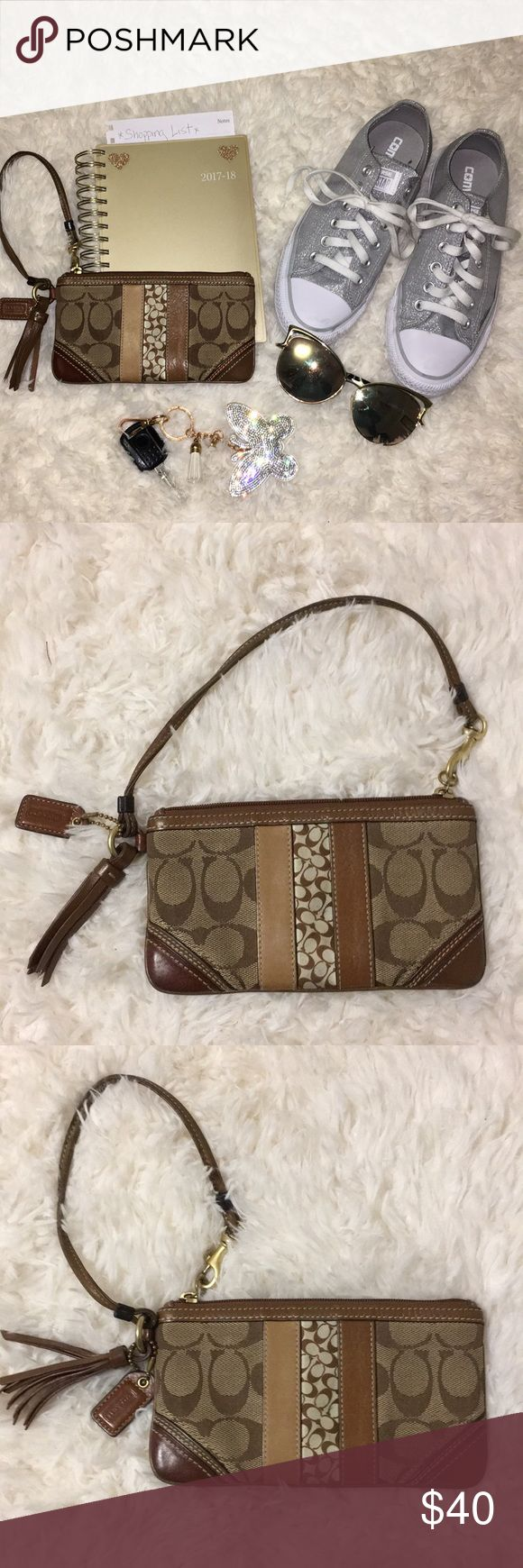 Vintage Coach Wristlet Monogram Coach wristlet sturdy in great shape just not big enough for my phone. Well loved could use a steam clean. Coach Bags Clutches & Wristlets