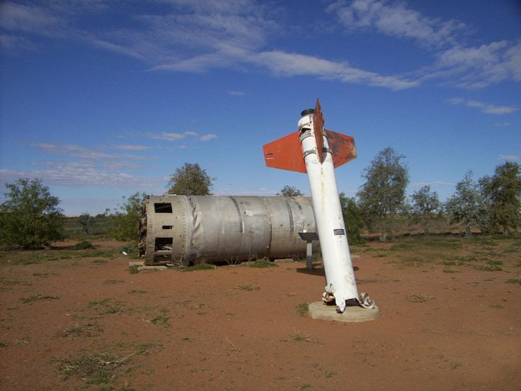 Rocket fired from Woomera, which landed at William Creek, Sth. Australia