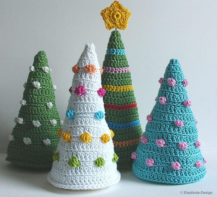 Colorful Christmas trees - crochet pattern, photo-tutorial