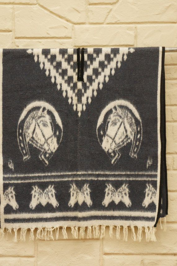 Vintage 60s-70s Blanket Poncho With Horses by SycamoreVintage
