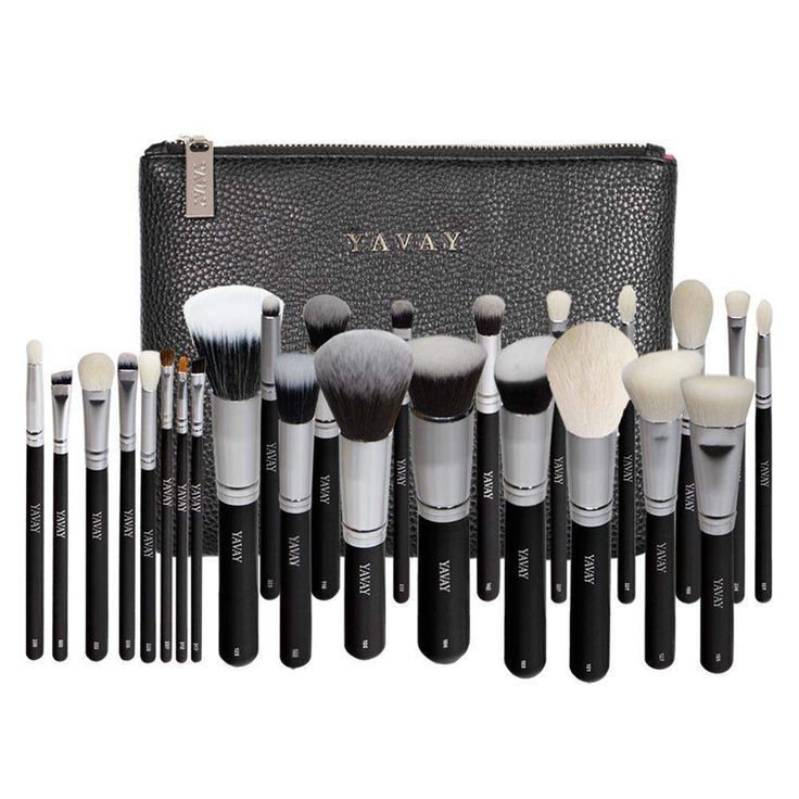 buy on wallmart.win YAVAY 25pcs Original Pro Luxury Artist Makeup Brush Set Goat Hair Synthetic Hair Cosmetics Brushes With PU Leather bag…