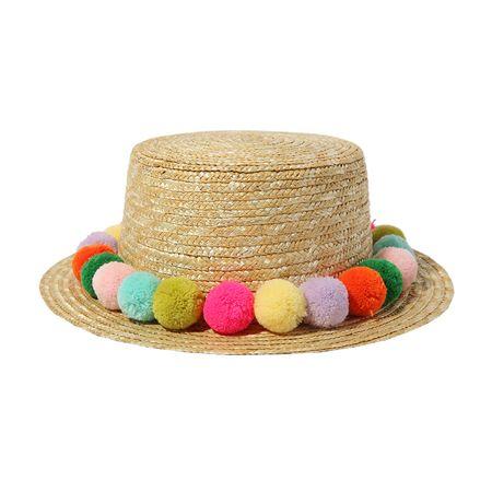 Pom-Pom Accent Straw Hat | STYLENANDA