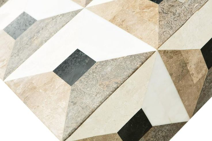 Custom Geometric Design Marble and Brass Coffee Table For Sale at 1stdibs