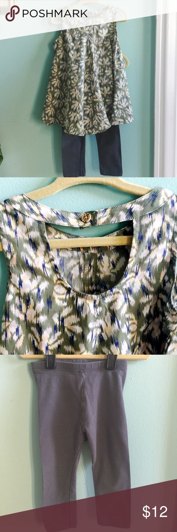 Old Navy Toddler Swing Top and Leggings Set This lightweight green floral swing top from Old Navy could easily be worn as a toddler dress, or paired with these classic gray leggings for cooler days. Sleeveless with a fun open back detail and button closure. Old Navy Matching Sets
